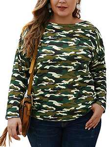 CHARLES RICHARDS Women's Plus Size T Shirts Long Sleeve Camo Print Casual Loose Tunic Tops Camogreen