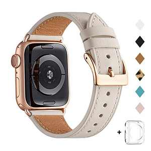Bestig Band Compatible for Apple Watch 38mm 40mm 42mm 44mm, Genuine Leather Replacement Strap for iWatch Series 6 SE 5 4 3 2 1, Sports & Edition (Ivory White Band+Rose Gold Adapter, 42mm 44mm)