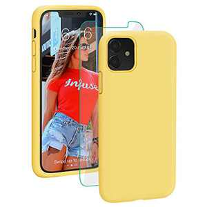 PROBIEN Liquid Silicone iPhone 11 Case with [Tempered Screen Protector] Shockproof Phone Case, Gel Rubber Full Body Drop Protection Cover for iPhone 11 6.1 inch-Yellow