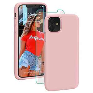 PROBIEN Liquid Silicone iPhone 11 Case with [Tempered Screen Protector] Shockproof Phone Case, Gel Rubber Full Body Drop Protection Cover for iPhone 11 6.1 inch-Sand Pink