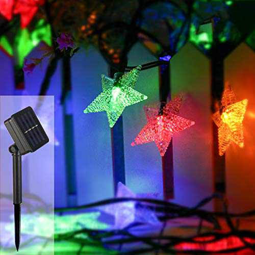 ZOUTOG Solar Star Lights, 40ft/12m 80 LED Colorful Star String Lights, Waterproof Outdoor Solar Lights for Home/Yard/Patio/Garden