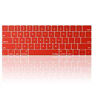 Kuzy Compatible with MacBook Pro Keyboard Cover with Touch Bar for 13 and 15 inch 2019 2018 2017 2016 Apple Model A2159, A1989, A1990, A1706, A1707 Silicone Skin Protector, Red