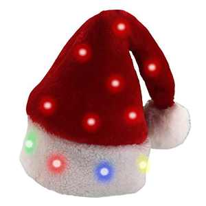 Falecha LED Christmas Santa Hat, Blinking Color-Changing Light up LED Lights Thickened Luxury Short Plush Christmas Hat for Adults and Children