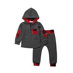 Infant Baby Boys Girls Clothes Hoodie Plaid Pocket Sweatshirt Jackets Shirt+Pants 2PCS Clothes Set (18-24 Months, Black)