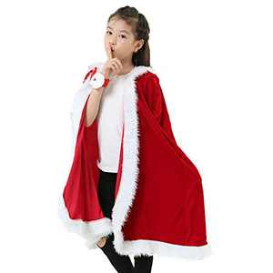 Santa Cloak Christmas Costumes Santa Claus Xmas Red Velvet Hooded Cape (Kid size B (47.2 inch))