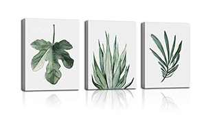 Wall art green leaf plants watercolor style tropical plants natural art flowers canvas painting bedroom sitting room wall green small fresh combination is suitable for home office decoration painting