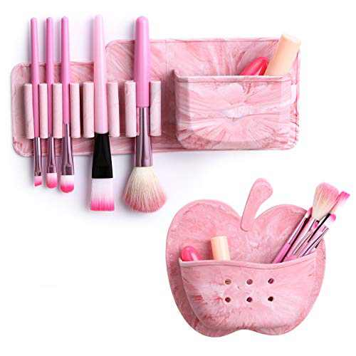 Silicone Makeup Brush Drying Rack, GUANCI Makeup Brushes Holder with 7 Holes Suitable for Different Size Brushes, Silicone Brush Cleaner, Easy to Mount to Mirror