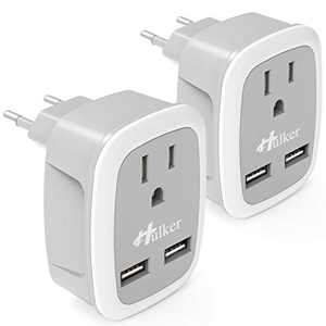 Travel Plug Adapter[2 Pack], Hulker European Travel Plug Adapter US to Europe, Power Adapter with 2 USB , Travel Plug US to EU Spain Italy France Germany Iceland 3 in 1 Outlet Adaptor with 2 USB