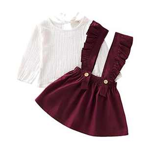 Kids Toddler Baby Girls Skirt Sets Long Sleeve Top + Ruffle Strap Suspender Dress Outfits Clothes (Red, 110(4-5T))