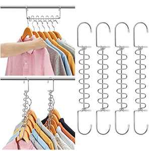 AMKUFO 20 Pack Space Saving Hangers Magic Hangers Metal Clothes Hangers Organizer Cascading Hangers Gain 80% More Space
