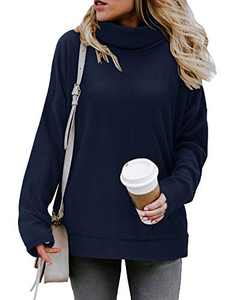 KILIG Women' s Long Sleeve Turtleneck Side Split Loose Casual Knit Pullover Tunic Tops(Navy,L)