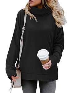 KILIG Women's Turtleneck Top Sweater Pullover Casual Long Sleeve Side Split Loose Sweater Shirts Knit Tunic Tops(Black,S)