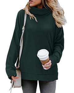 KILIG Women's Turtleneck Top Sweater Pullover Casual Long Sleeve Side Split Loose Sweater Shirts Knit Tunic Tops(Green,L)