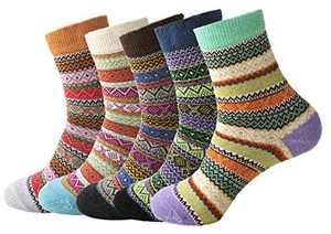 Macochoi Womens Vintage Style Wool Thick Warm Socks(5 Pairs) (Multi-colored-C)