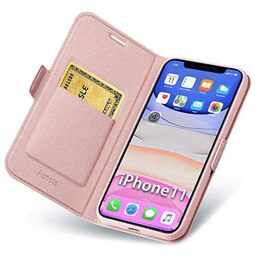 """Aunote iPhone 11 Case Wallet, iPhone 11 Flip Case with Card Holder, Magnetic Closure, Kickstand, Ultra Slim Leather Folio Cover, Full Protection for Apple 11 6.1"""" Phone. Rose Gold"""
