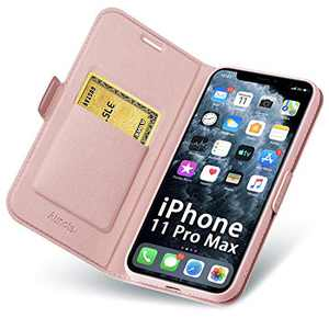 Aunote Case for iPhone 11 Pro Max, iPhone 11 Pro Max Phone Case, Slim Flip/Folio Cover – Wallet Style: Made of PU Leather Shell (Lightweight, Feels Good) and TPU Inner - Full Protection. Rose Gold