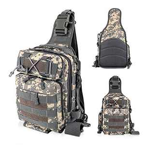 LUXHMOX Fishing-Backpack for Outdoor Gear Storage Tackle-Bag 5.25x12x9 Waterproof Sling Bag (ACU)