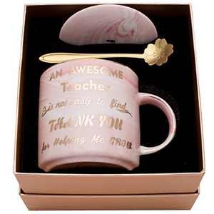 Luspan Teachers Mug - Best Teacher Gifts for Women - BEST GIFTS FOR TEACHERS - Teacher Appreciation Gifts - Pink Marble Ceramic Coffee Mugs 11.5oz and FREE Cup Lid