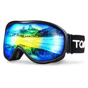 TOMSHOO Ski Goggles Windproof Snow Goggles Fit Over Glasses, Anti-Fog UV Protection Non-Slip Strap Ski Snowboard Goggles for Men Women