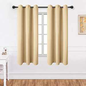 Texlab Blackout Curtains for Bedroom - Grommet Thermal Insulated Summer Heat/Winter Cold, Light Blocking Window Curtain Panels for Living Room, Set of 2 Pieces, 42 x 54Inch, Beige