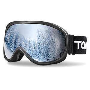 TOMSHOO Ski Goggles Windproof Snow Goggles Fit Over Glasses, Anti-Fog UV Protection Non-Slip Strap Ski Snowboard Goggles for Men Women