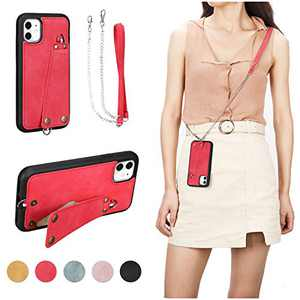 JISON21 iPhone 11 case with Lanyard,iPhone 11 Case Crossbody Chain with Credit Card Holder Slot Adjustable Detachable Strap Leather Case Cover for Apple iPhone 11 6.1 inch 2019 (Red)