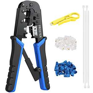 RJ45 Crimp Tool Kit Cat5 Cat5e Ethernet Crimping Tool with 30pcs RJ45 Cat5 Modular Data Plugs 30pcs Covers 100pcs 6 Inch Nylon Cable Tie and Network Wire Cutter Stripper