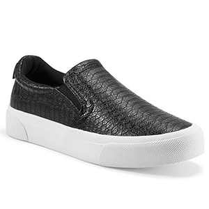 jenn-ardor Women's Slip On Sneakers Perforated/Quilted Casual Shoes Fashion Comfortable Walking Flats S.Black 7 US