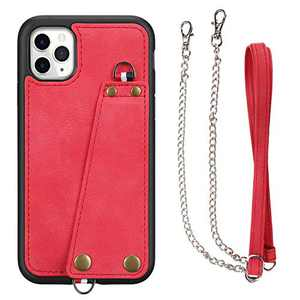 JISON21 iPhone 11 Pro Max case with Lanyard,iPhone 11 Pro Max Case Crossbody Chain With Credit Card Holder Slot Adjustable Detachable Strap Leather Case for Apple iPhone 11 Pro Max 6.5 inch 2019 (Red)