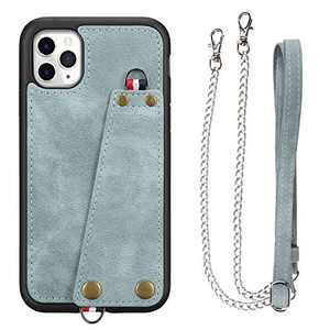 JISON21 iPhone 11 Pro case with Lanyard,iPhone 11 Pro Case Crossbody Chain with Credit Card Holder Slot Adjustable Detachable Strap Leather Case for Apple iPhone 11 Pro 5.8 inch 2019