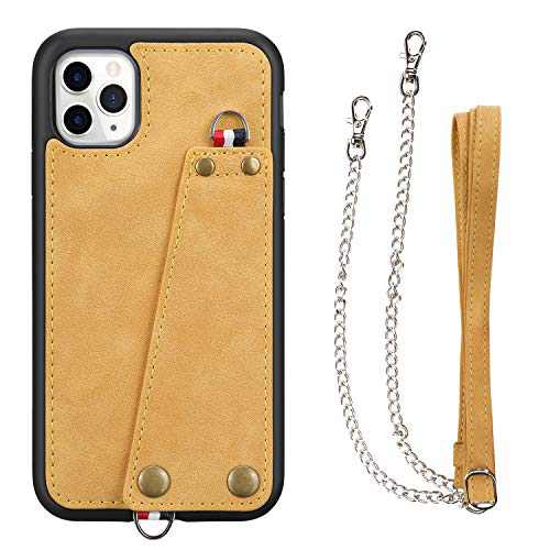 JISON21 iPhone 11 Pro case with Lanyard,iPhone 11 Pro Case Crossbody Chain with Credit Card Holder Slot Adjustable Detachable Strap Leather Case for Apple iPhone 11 Pro 5.8 inch 2019 (Yellow)