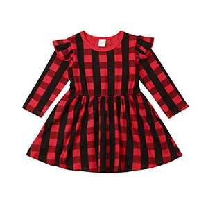 Kids Little Boys Girls Long Sleeve Button Down Red Plaid Flannel Shirt Dress with Belt (2-3T, Ruffle Red Plaid Tutu Dress)