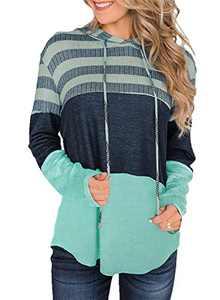 GULE GULE Women Long Sleeve Tops Pullover Stretchy Lightweight Striped Hooded Sweatshirts Green XL