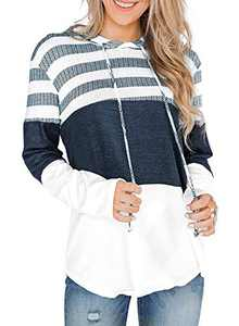 GULE GULE Women Long Sleeve Tops Pullover Striped Hoodie Sweatshirts with Drawstring White L