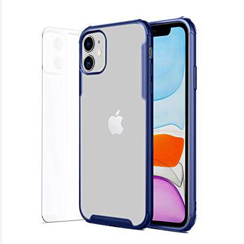 BuzyBeie iPhone 11 Case with Tempered Glass Film, Slim Full-Body Covered Protective Case Hard PC Back+Soft TPU Frame Shockproof Blue Case for iPhone 11