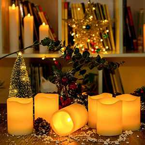 "Flameless Flickering Candles BeMoment Battery Operated with Remote Control Set of 6 LED Candle for Garden Wedding,Party, Christmas Decorations(3""×4"")"