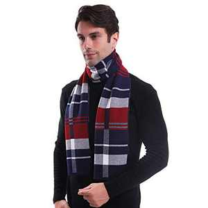 LAIWOO Mens Cashmere Scarf, Soft Classic and Business Style Warm Winter Shawls Scarf for Men Plaid Scarf with Gift Box, Red/Blue