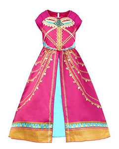 JiaDuo Girls Princess Costume Toddler Halloween Party Dress Up 5-6X Rose Red
