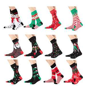 12 Pair Christmas socks Unisex Cartoon Holiday Crew Socks Colorful Fun Novelty Crew Patterned Socks-B L