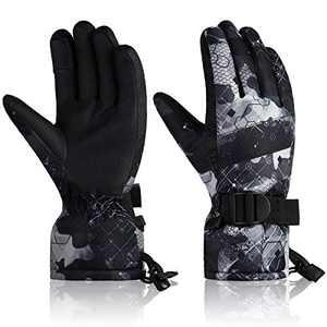 YR.Lover Ski Gloves Winter Waterproof Snowboard Snow Warm Touchscreen Cold Weather Women,Men,Kids Gloves Wrist Band