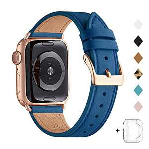 Bestig Band Compatible for Apple Watch 42mm 44mm, Genuine Leather Replacement Strap for iWatch Series 6 SE 5 4 3 2 1, Sports & Edition (Peacock Blue Band+Rose Gold Adapter, 42mm 44mm)