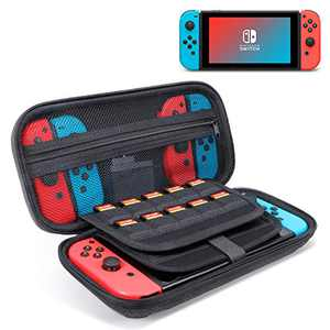 Switch Carrying Case for Nintendo Switch Game Console & Accessories - GLCON Nintendo Switch Travel Case Storage Pouch with 20 Game Cartridges - Hard Shell Protective Switch Case (Black Gray)