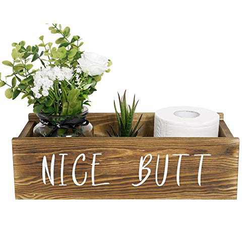 Nice Butt Bathroom Decor Box, Toilet Paper Holder, Farmhouse Rustic Wood Box Crate Storage Bin, Funny Home Decor for Bathroom Kitchen Table Counter, Brown