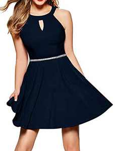 InsNova Women's Semi Formal Cocktail Dresses Cute Skater Dress for Juniors Teen Girls Birthday Party Special Occasions, Navy Blue