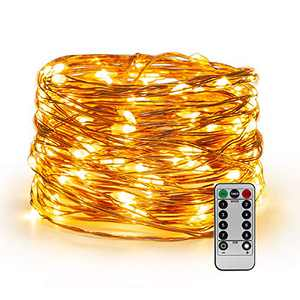 YIHONG Christmas USB Powered Fairy String Lights, 66ft 200LEDs Twinkle Lights with Remote Control Timer Firefly Lights for Bedroom Garden Patio Indoor Decor - Warm White