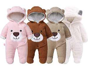 Slivery Color Cute Baby Snowsuit Newborn Girls Boys Bear Bodysuit Winter Warm Fleece Hooded RomperJumpsuit Outfits Coffee