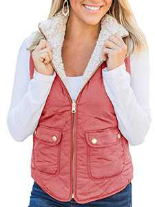 Ofenbuy Womens Reversible Vest Fuzzy Fleece Zip Up Sleeveless Lightweight Casual Fall Jackets Outerwear with Pockets Cameo Brown