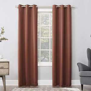 Sun Zero Easton Blackout Energy Efficient Grommet Curtain Panel, 40x63, Terracotta Red
