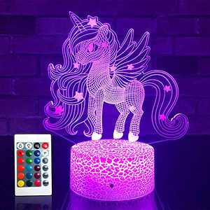 SETIFUNI Unicorn Gifts Unicorn Night Light Kids Lamp16 Colors Changing with Remote 3D Optical Illusion Bedside Lamp as Birthday Gifts for Girls