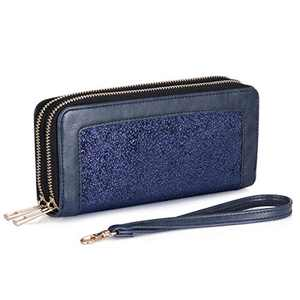 HUA ANGEL Double Zip Around Wristlet Wallet Cellphone Clutch Long Purse Wallet for Women